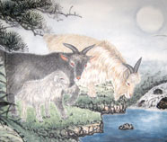 Chinese sheep paintings