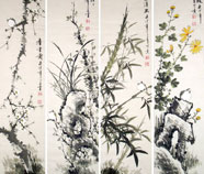 Chinese four screens birds&flower paintings