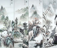 Chinese Four Screens landscape paintings