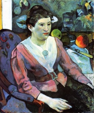 portrait of woman against the cezanne s still life with apples 1