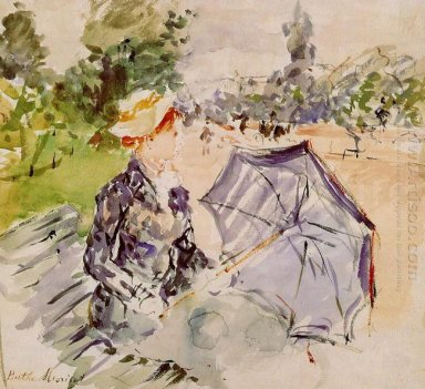 Lady With A Parasol Sitting In A Park