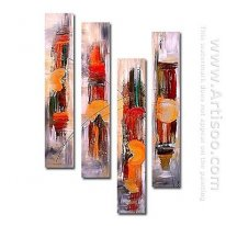 Hand-Dicat Lukisan Abstrak Oil - Set 4