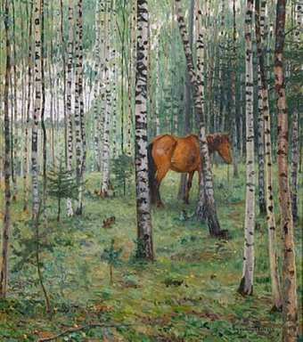 Horse Between Birches