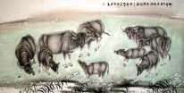Cow-Plowing is completed, rest now(Night cow) - Chinese Painting
