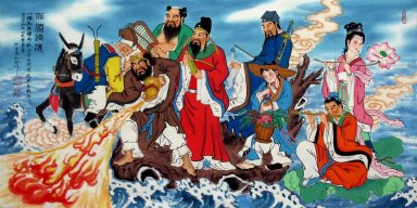 Eight Immortals Crossing the Sea - Chinese Painting