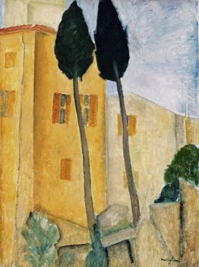 cypress trees and house 1919