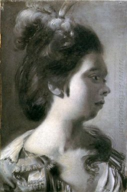 Study Of A Young Girl With Feathers In Her Hair