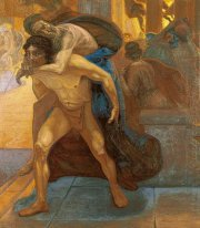 Aeneas saving his father through the flames of Troy