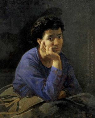 Portrait Of An Unknown Woman In A Blue Blouse