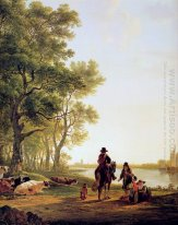 Italian landscape with travellers