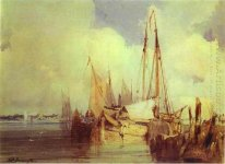 French River Scene with Fishing Boats