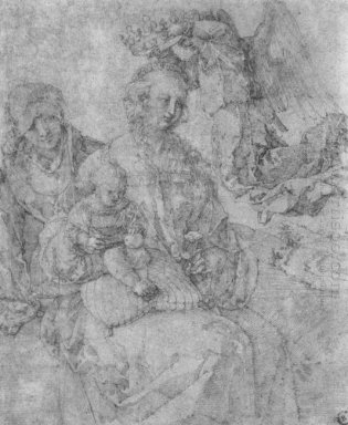 mary and child crowned by an angel and st anna