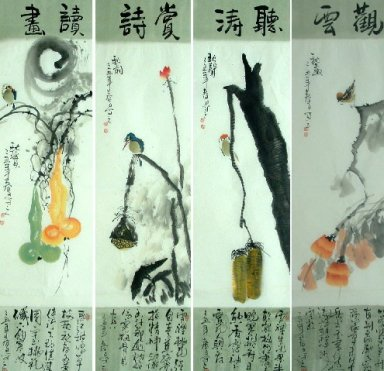 Book,Poetry,Tao,Cloud-FourInOne - Chinese Painting