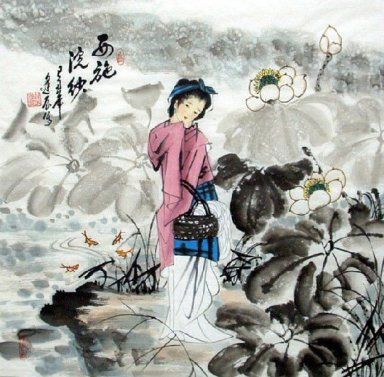 One of Four Ancient Beauties-XiSi-Chinese Painting