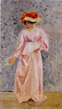 portrait of jeanne in a pink robe