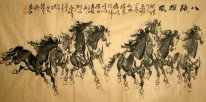 Oito Cavalos Treasures-Antique Papel - Pintura Chinesa