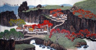 Ancient mountain, maple - Chinese Painting