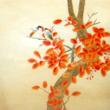 Red leaf-Birds - Chinese Painting
