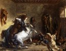 Arab Horses Fighting In A Stable 1860