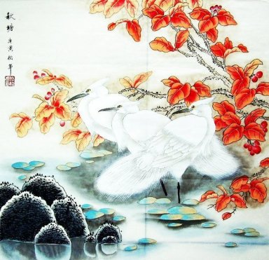 Crane&Red leaves - Chinese Painting