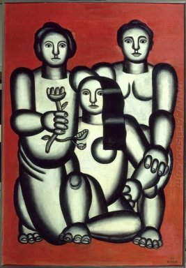 Three Girls On Red Background Composition With Three Women 1927