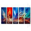 Hand-painted Abstract Oil Painting - Set of 5