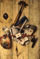 Trompe l'oeil with violin, painter's implements and self-portrai