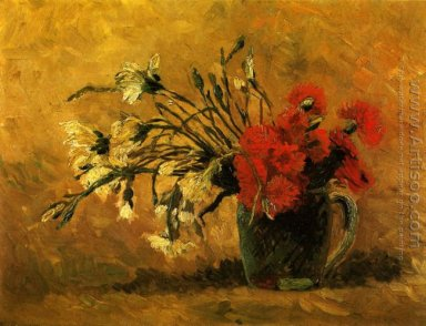 Vase With Red And White Carnations On Yellow Background