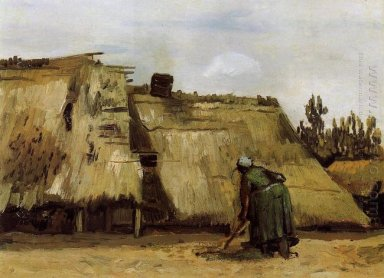 Cottage With Woman Digging 1885