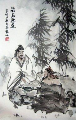 Chinese Painting: Drinking tea-Chinese Painting CNAG241389 ...