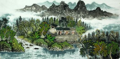 Trees, house - Chinese Painting