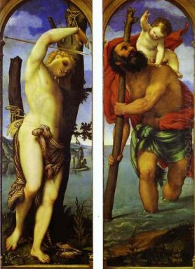 Wings Of A Triptych St Sebastian St Christopher 1531