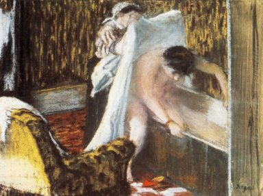 woman leaving her bath 1877