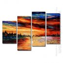 Hand-painted Oil Painting Landscape Oversized Wide - Set of 4