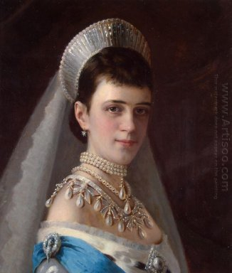 Portrait Of Empress Maria Fiodorovna In A Head Dress Decorated W