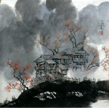 A woondern house - Chinese Painting