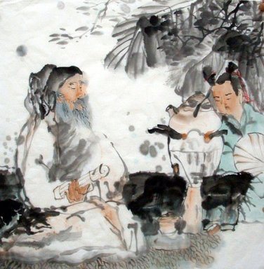 Old man, boy - Chinese Painting