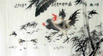 Chicken-Bamboo - Pintura Chinesa