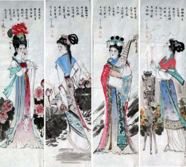 Beautiful Ladies, Set of 4 - Chinese painting