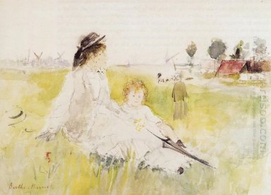 Girl And Child On The Grass