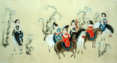 Beautiful lady, Riding horses - Chinese Painting