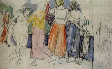 Sketch Of The Painting Girls On The Volga 1914