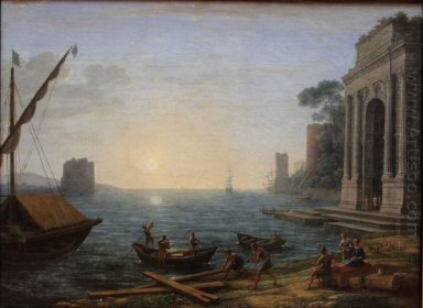 A Seaport At Sunrise 1674 1
