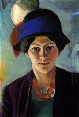 portrait of the artist s wife with a hat