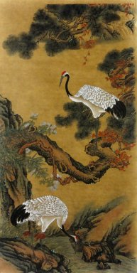 Crane - Pine - Chinese painting(Semi-manual)