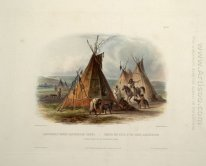A Skin Lodge of an Assiniboin Chief, plate 16 from Volume 1 of '