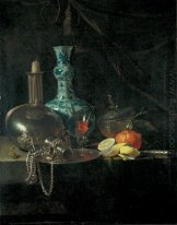 Still Life with a Pilgrim Flask, Candlestick, Porcelain Vase and