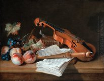 Still Life with a Violin, a Recorder, Books, a Portfolio of Shee