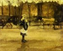 A Girl In The Street Two Coaches In The Background 1882