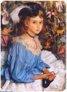Katya In Blue Dress By Christmas Tree 1922